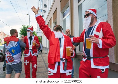 KALININGRAD, RUSSIA - JUNE 22, 2018: Football fans of the team of Switzerland in Kaliningrad. Russia, FIFA World Cup 2018.