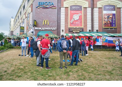 KALININGRAD, RUSSIA - JUNE 22, 2018: Football fans in Kaliningrad. Russia, FIFA World Cup 2018.