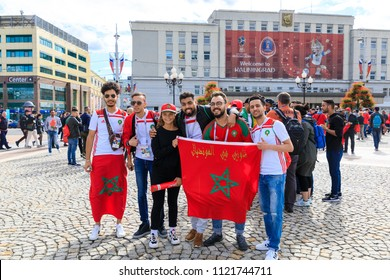 Kaliningrad, Russia - June 24 2018: Happy Moroccan football fans on the Victory square in Kaliningrad