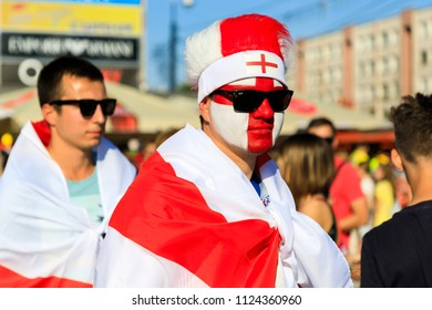 Kaliningrad, Russia - June 28 2018: English fans in a street of Kaliningrad during the FIFA World Cup 2018