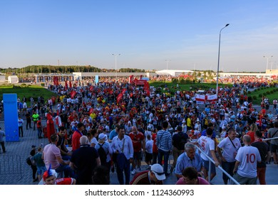 Kaliningrad, Russia - June 28 2018: Crowd of fans are going to the soccer match during the FIFA World Cup 2018