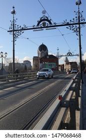 KALININGRAD, RUSSIA - MARCH 11, 2019: a car on the bridge