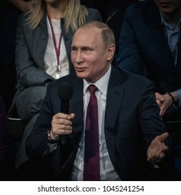 KALININGRAD, RUSSIA - MARCH 2, 2018: President of Russia Vladimir Putin with a microphone in his hand