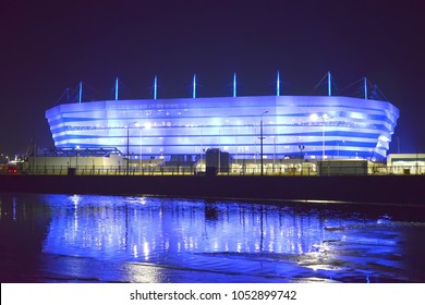 KALININGRAD, RUSSIA - MARCH 21, 2018: Partial inclusion of evening illumination of Baltic Arena stadium for holding games of the FIFA World Cup of 2018