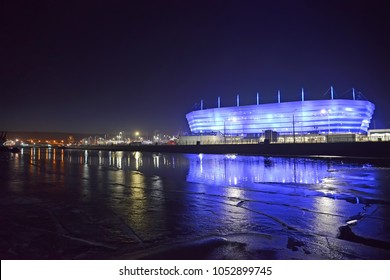 KALININGRAD, RUSSIA - MARCH 21, 2018: A view of the Pregolya River and the shining Baltic Arena stadium for holding games of the FIFA World Cup of 2018