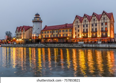 KALININGRAD, RUSSIA - March 7, 2015: Embankment of the Fishing Village, night view