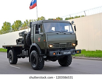 "KALININGRAD, RUSSIA - MAY 05, 2018: The car ""KAMAZ"" transports a robotic complex on a parade rehearsal in honor of the Victory Day"