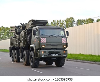 KALININGRAD, RUSSIA - MAY 05, 2018: The surface-to-air missile Armour-C1 missile air defense gun system on the basis of the KamAZ truck moves on a parade rehearsal in honor of the Victory Day