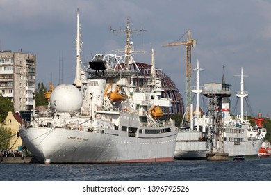"""KALININGRAD, RUSSIA - May 12, 2019: Research vessel of space communication """"Cosmonaut Viktor Patsayev"""" moored on the embankment of Peter the Great in Kaliningrad. Museum of the World Ocean."""