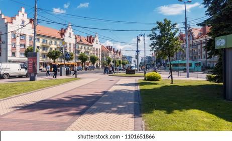 Kaliningrad, Russia - May 18th 2018: Street of the Kaliningrad city in Russia. People on the street of the Kaliningrad city