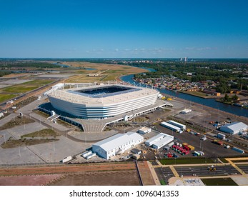 Kaliningrad - Russia, May 20, 2018: Construction of a football stadium for Fifa World Cup 2018 is completed, aerial view