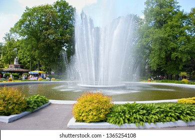 KALININGRAD, RUSSIA - MAY 21, 2016: Beautiful old historical fountain in the Kaliningrad Zoo. The Zoo was founded in 1896 as the Konigsberger Tiergarten in the German town of Konigsberg.