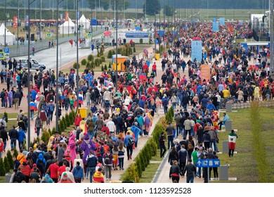 Kaliningrad - Russia, May 25, 2018: Football fans attend stadion Kaliningrad before match between Spain and Marocco