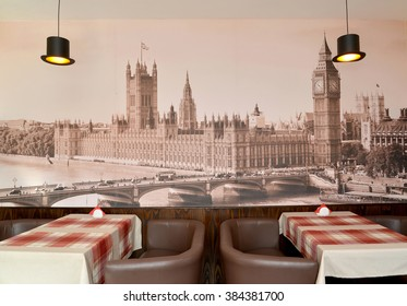 KALININGRAD, RUSSIA - OCTOBER 03, 2015: Fragment of an interior of modern cafe with the photo of the Westminster palace on a wall