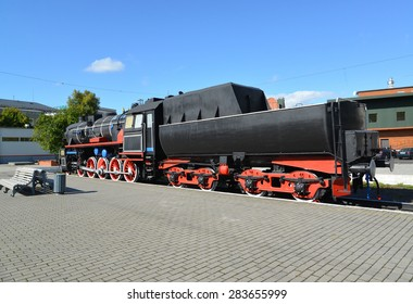 KALININGRAD, RUSSIA - SEPTEMBER 01, 2013: The old German engine at the platform of the Northern station