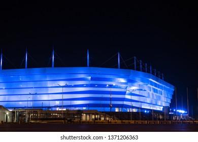Kaliningrad, Russia - September 20, 2018: Facade of the Kaliningrad Stadium for the 2018 FIFA World Cup with night illumination.