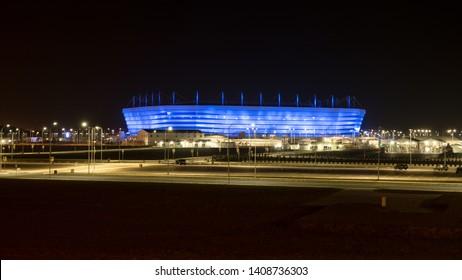 Kaliningrad, Russia - September 21, 2018: Baltika Arena or Kaliningrad Stadium for the 2018 FIFA World Cup with night illumination.