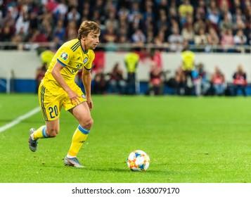 Kaliningrad, Russia – September 9, 2019. Kazakhstan national football team midfielder Maxim Fedin during UEFA Euro 2020 qualification match Russia vs Kazakhstan (1-0) in Kaliningrad.