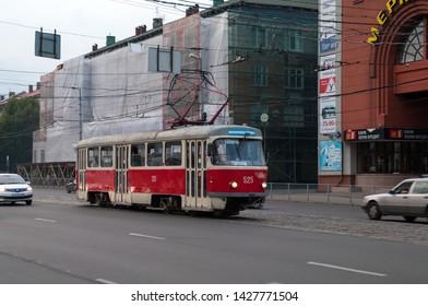 """Kaliningrad / Russian Federation - July 10, 2017: Tram Tatra T4D #525 on Leninsky Avenue near the hotel """"Kaliningrad"""""""