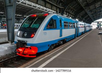 Kaliningrad / Russian Federation - July 11, 2017: Diesel train RA2-057 at the station Kaliningrad-Passenger of the Kaliningrad railway