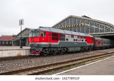 Kaliningrad / Russian Federation - July 11, 2017: Diesel locomotive TEP70-0388 at the station Kaliningrad-Passenger of the Kaliningrad railway