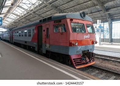 Kaliningrad / Russian Federation - July 13, 2017: Commuter train ER2T-7232 at the station Kaliningrad-Passenger of the Kaliningrad railway