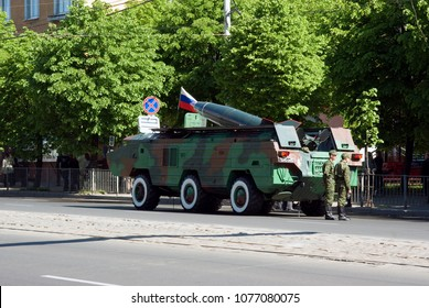 """Kaliningrad / Russian Federation - May 09, 2008: Launcher 9P129M-1 on the chassis BAZ-5291 of the tactical missile complex 9K79 """"Tochka-U"""""""