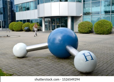"KALININGRAD, RUSSIA-OCTOBER 06, 2019: art object ""water Molecule"" on the territory of the world ocean Museum"