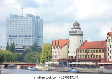 Kaliningrad, Russia-September 5, 2018:Modern building of Kaliningrad House of Soviets, built on the site of the Royal castle in Koenigsberg, and views of the attraction of the Fish village. View from