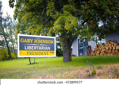 KALISPELL, MONTANA - AUGUST 23, 2016: Governor Gary Johnson for President sign stands in a yard in Kalispell, Montana.