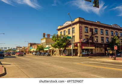 KALISPELL, MONTANA, USA - JULY 5, 2017 : Scenic street view with shops and hotels in Kalispell. Kalispell is the gateway to Glacier National Park.