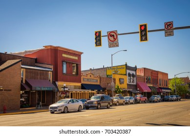 KALISPELL, MONTANA, USA - JULY 5, 2017 : Scenic street view with shops and restaurants in Kalispell. Kalispell is the gateway to Glacier National Park.