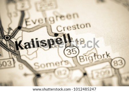 Kalispell Montana Usa On Map Stock Photo Edit Now 1012485247