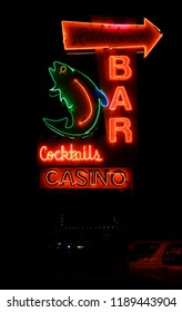 KALISPELL, MONTANA, USA - September 26, 2018: Rainbow Bar and Casino's neon sign lit up at night
