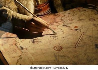 KALITBAHIR, TURKEY - APR 21, 2019 - Piri Reis cartographer drawing a map, Kalitbahir, Turkey