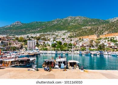 Kalkan, Antalya - May 15, 2015 : Kalkan Marina view from sea. Kalkan is a town on the Turkish Mediterranean coast, and an important tourist destination.