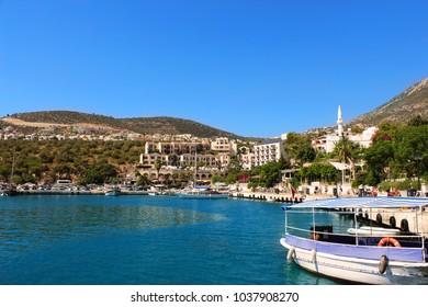 Kalkan, Antalya - September 14, 2012 : Kalkan Marina view from sea. Kalkan is a town on the Turkish Mediterranean coast, and an important tourist destination.