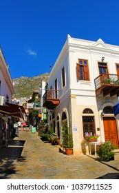 Kalkan, Antalya - September 14, 2012 : Kalkan streets Aegean and Mediterranean architecture in Antalya, Turkey