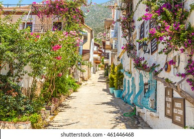 Kalkan - June 07: Old street in the center of the city. Oriental architecture. Kalkan,, Turkey, June 7, 2016