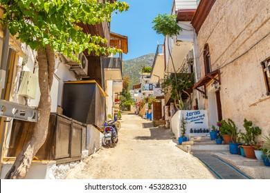 Kalkan - June 07: Street in the historic center in  traditional Mediterranean style. June 07, 2016, Kalkan, Turkey