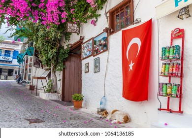 Kalkan, Kas, Turkey - August 13, 2017: Picturesque street in the traditional Turkish Mediterranean style in the old town of Kalkan
