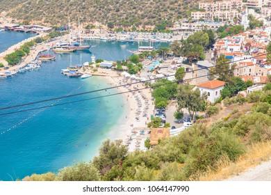 Kalkan, Kas, Turkey - August 13, 2017: Sea view of  Kalkan city, Mediterranean cost