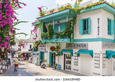 Kalkan, Kas, Turkey - August 13, 2017: Traditional house in the Turkish Mediterranean style