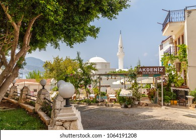 Kalkan, Kas, Turkey - August 13, 2017: View of the white mosque in the old town of Kalkan
