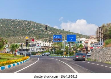 Kalkan, Kas, Turkey - August 13, 2017: The road in the city center of Kalkan