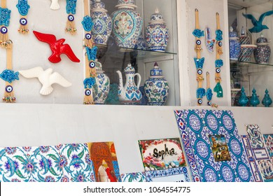 Kalkan, Kas, Turkey - August 13, 2017: Traditional Turkish souvenirs with oriental pattern
