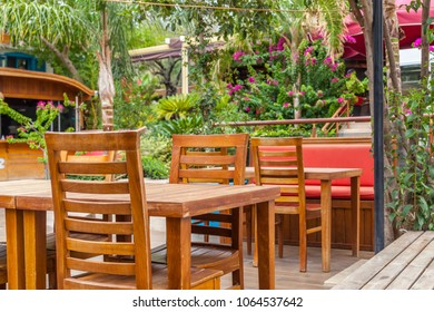Kalkan, Kash, Turkey - August 13, 2017: Tables in a cafe in the Mediterranean style
