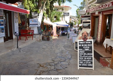Kalkan, Turkey - 16,August,2018 : colored images view in Kalkan Town of Turkey. Kalkan is an important location for tourism with its sea, harbor, boat tour, seafood, souvenir and nature.