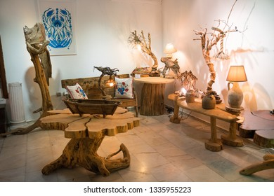 Kalkan, Turkey - 16,August,2018 : colored images view in Kalkan Town of Turkey. Kalkan is an important location for tourism with its sea and nature. Wood Works