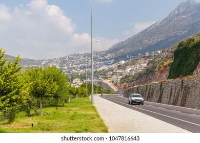 Kalkan, Turkey, August 13, 2017: Mountain road serpentine, Mediterranean coast